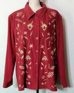 Susan-Graver-Women-039-s-Moleskin-Embroidered-Deep-Wine-Shirt-Jacket-Button-Up-Sz-1X