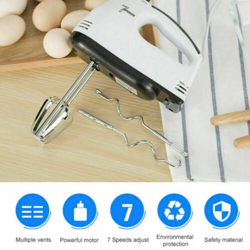 7 Speed Electric Hand Food Mixer Whisk Beaters Dough Hooks 100W Handheld Mixers