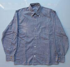Hermès Paris Chemise  coton carreaux gris bleu taille 37 coupe à pinces