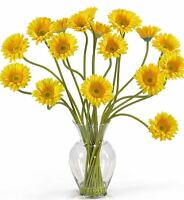 Home Floral Decoration Artificial Gerber Daisy Arrangement Silk Flowers And Vase