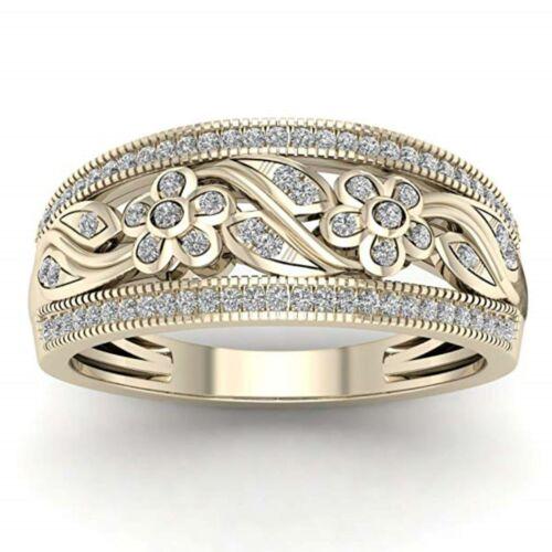 10Kt OR JAUNE 0.25 CT Véritable Diamant Naturel Fleur Design Ring