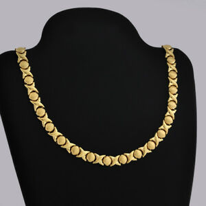 Modern-14K-Fine-Gold-Kiss-amp-Hug-Motif-Love-Necklace-16-1-4-Long-Made-In-Italy