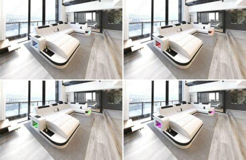 Sofá de cuero tresillo Modern Wave u forma otomano de lujo diseño de cuero sofá LED