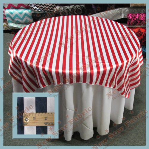 """White Table Overlay Stripe Charmeuse 1 inch Circle 58/"""" X 58/"""" Square Red"""