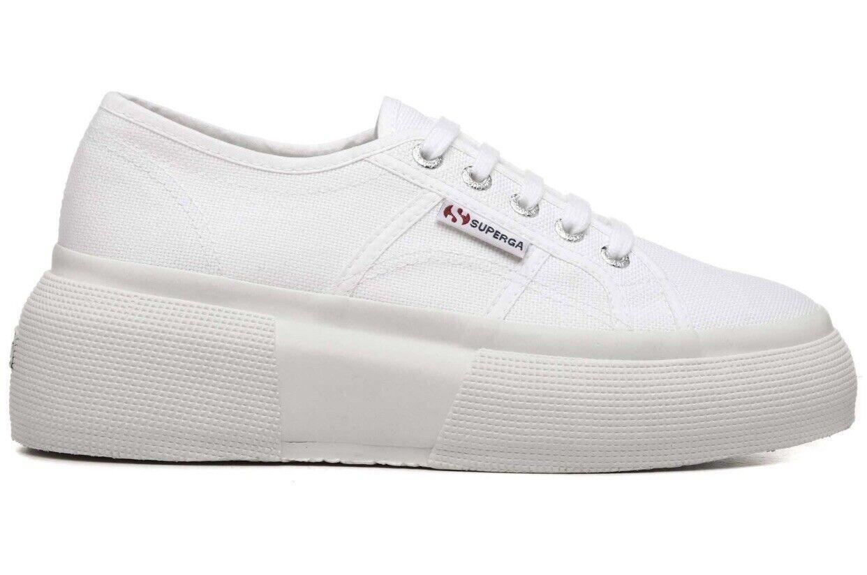 Superga 2287 Cotw DSS  Mujeres Lona blancooo blancooo blancooo Plataforma Zapatillas Uk Talla 5.5 EU 39 8d395e