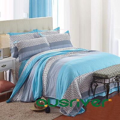 Clearance 4Pcs Set Aquar Sea Double Size Bed Flat Sheet Quilt Cover Pillowcases