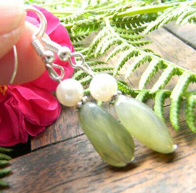 1 Paar Ohrringe Grüne Steine Echt Handarbeit Silber 925er Haken Neu Geschenk