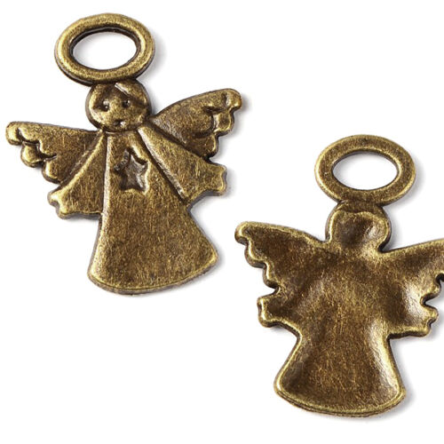 Set of 4 Antique Bronze Angel W// Halo and Wing Pendant Charms Pewter Base Metal