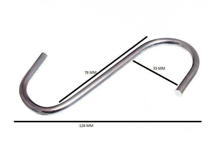 GANCHO 'S' UTILITARIO para REJILLA de COCINA 10.2cm 100mm Bzp Acero con Paquete