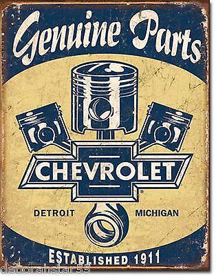 Large Chevy Chevrolet Pistons Genuine Parts Vintage Retro Metal Tin Sign 1722