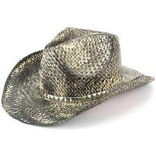 Hat Cowboy Straw Sun Unisex Fedora Western SNAKESKIN EFFECT BLACK Hawkins Summer