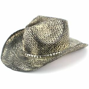Image is loading Hat-Cowboy-Straw-Sun-Unisex-Fedora-Western-SNAKESKIN- a8c6f46b86e