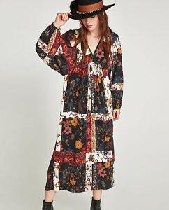 Dettagli su Zara Patchwork Vestito Maxi Stampa a Fiori Velluto Floreale lungo Velvet S L