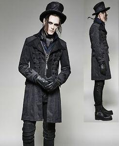 Das Bild wird geladen Gothic-Punk-Rave-Mantel-Herren-schwarz -Jacke-viktorianisch- 4e5c474d39