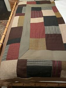 "Columbia Sportswear CO. Handmade Patchwork Blanket Wool Vintage 84x85"""