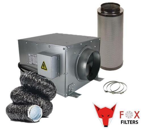 """Hydroponics 6/"""" Silent Case Fan Black Acoustic conduits à filtre à charbon Clips Grow"""