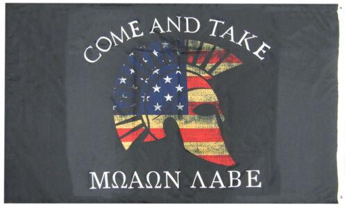 Come /& Take It Molon Labe Spartan Helmet Woven Poly Nylon 2-Sided 3x5 3/'x5/' Flag