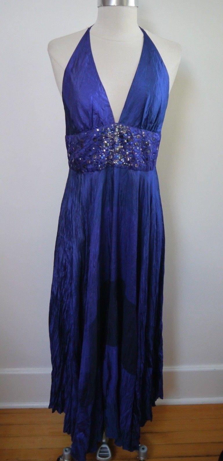 NEW DOSA bluee purple silk sequin detail halter maxi dress size 2 small medium