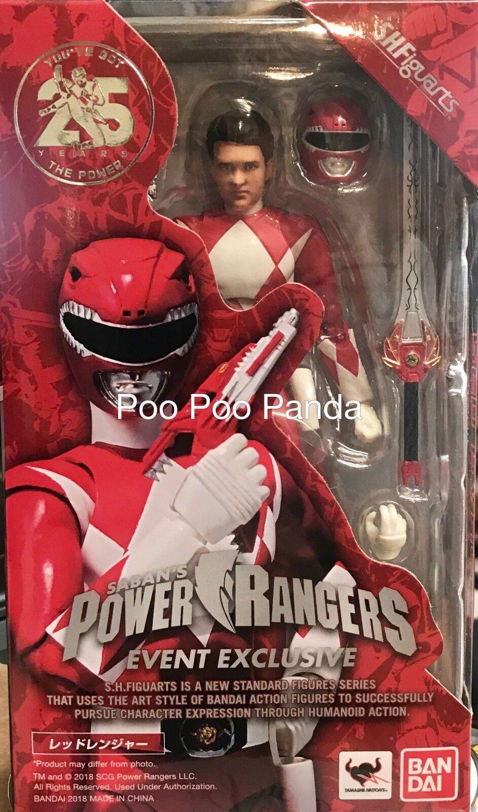Bandai S.H. Figuarts rojo Ranger desenmasCocheado Sdcc 2018 Exclusive