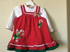 NWT Rare Too! Red Green Candy Cane Bows Body Suit Corduroy Dress 2pc, Size 18M
