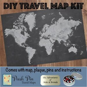 Diy stormy dreams world push pin travel map kit ebay image is loading diy stormy dreams world push pin travel map gumiabroncs Image collections