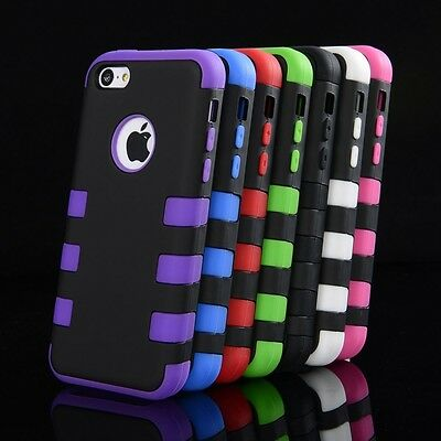 Colorful Heavy Duty Hybrid Rugged Hard Case Cover For iPhone 5C shockproof case