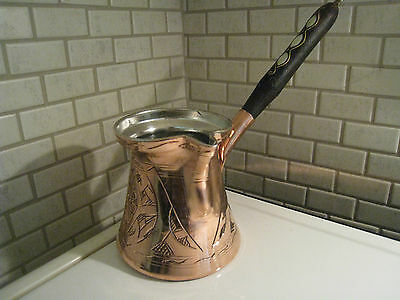 Authentic Turkish Handmade Copper Coffee Pot,Cezve Jezve,ibrik,CARVED DESIGN