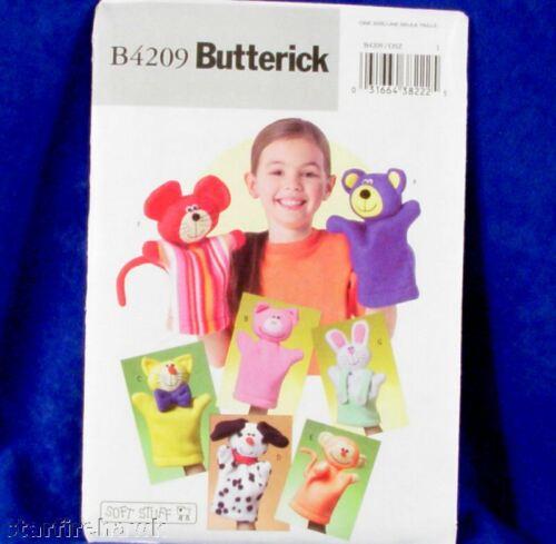 Butterick 4209 Soft Hand Puppet Patterns 7 Cute Animals