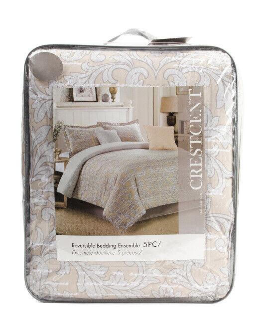 CRESCENT, 5pc Printed Reversible Comforter Set, Queen