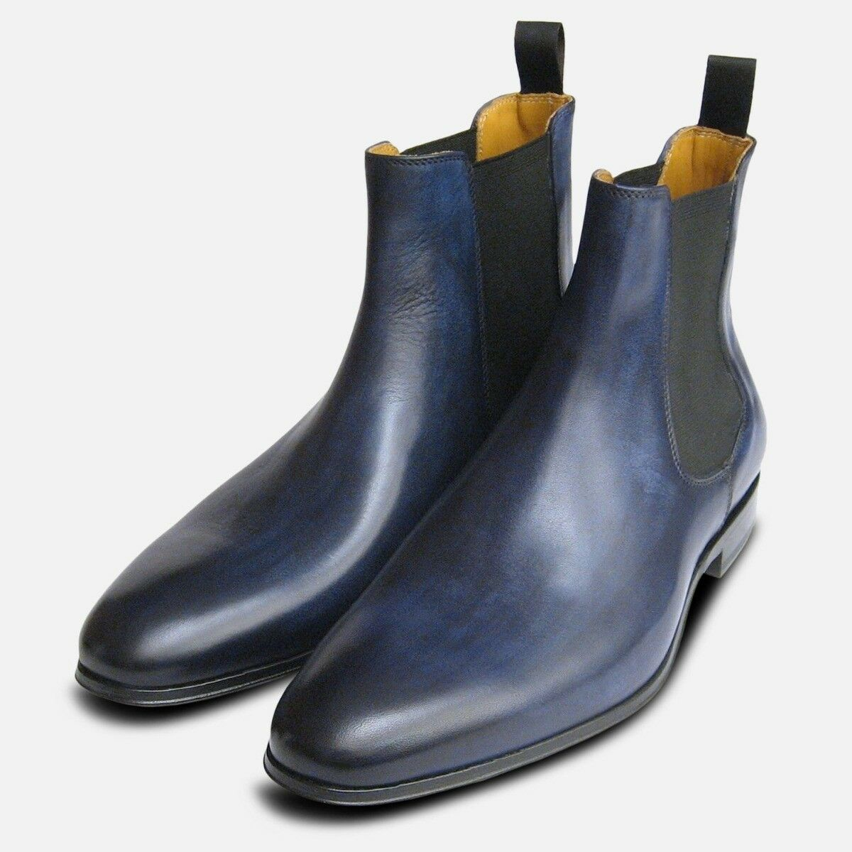 Antiqued Navy bluee Mens Chelsea Boots