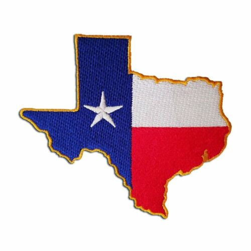 "Texas State Shaped 3.875/"" x 3.5/"" Sew Ironed On Badge Embroidery Applique Patch"