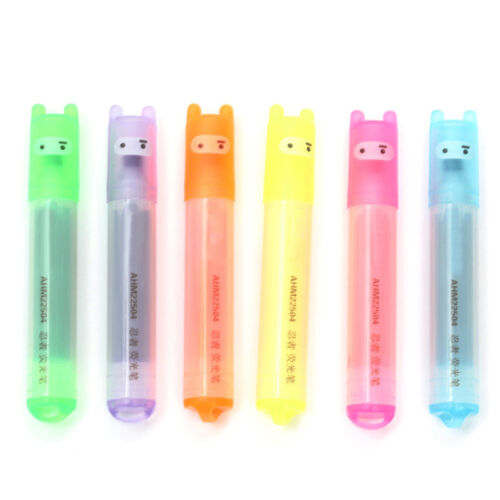 6 Fluorescent Highlighter Marker Pens Assorted Colours Office School Easy  UKPL