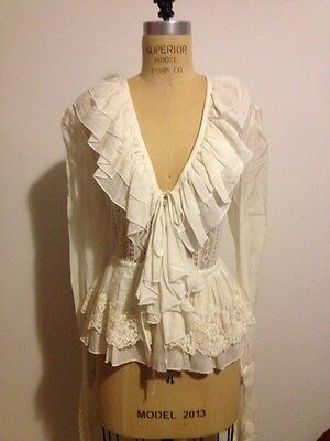 Vertigo Paris France White Lace & Knit blouse Romantic Sleeves NWT Sz L