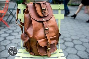 16-034-New-Genuine-Leather-Back-Pack-Rucksack-Travel-Bag-For-Men-039-s-and-Women-039-s