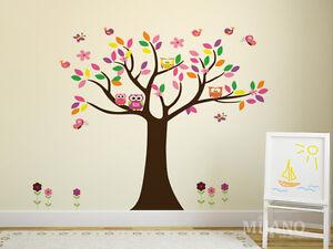 Details zu Wandtattoo Wandsticker Aufkleber Eulen auf Baum Blumen Vögel  Kinderzimmer Deko