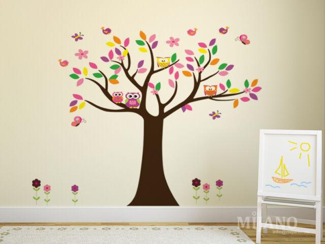 Wandtattoo Wandsticker Aufkleber Eulen Auf Baum Blumen Vögel Kinderzimmer  Deko