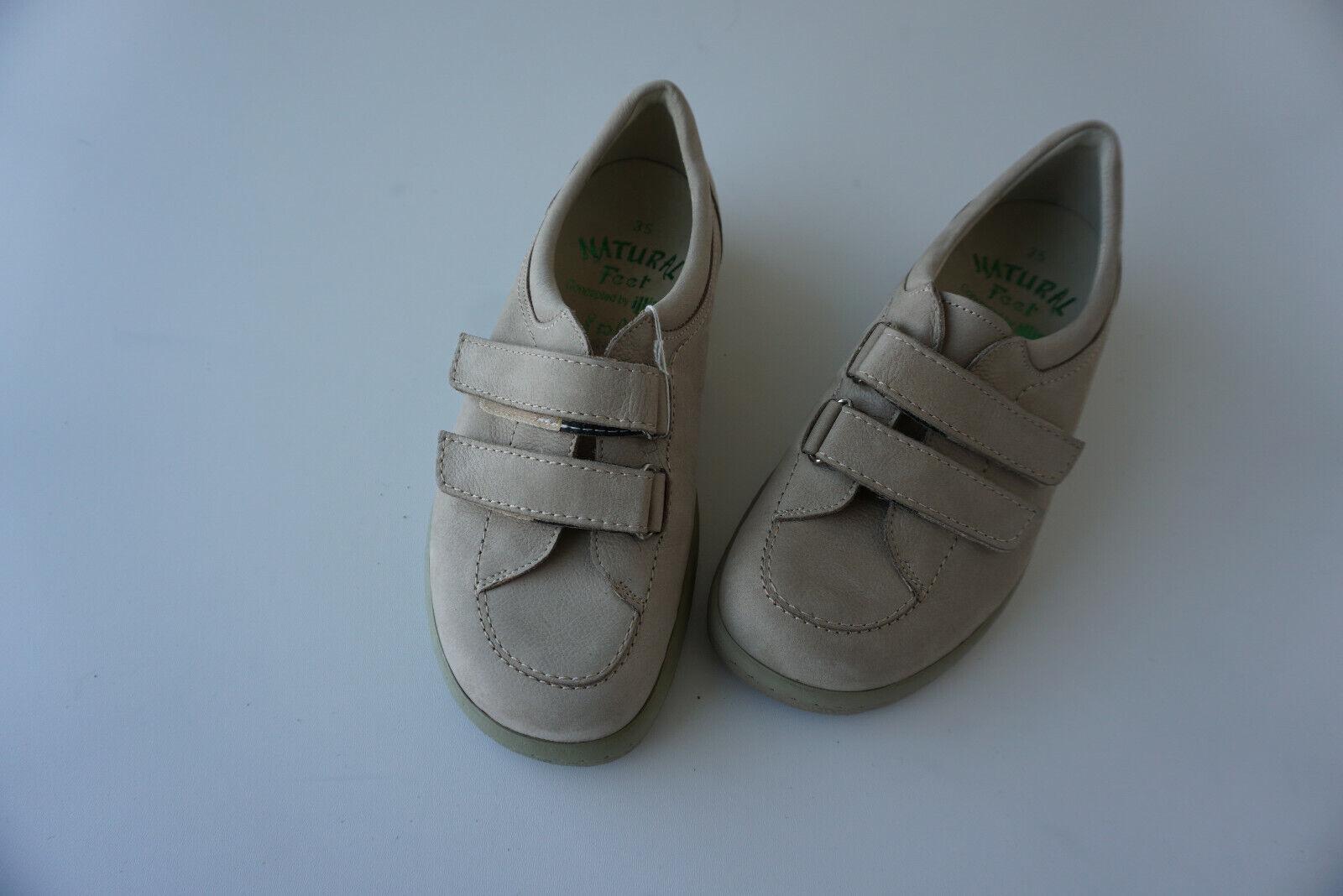 Orthopädische Natural Feet Damen Sommer Klett Schuhe Gr.35 Beige Leder NEU