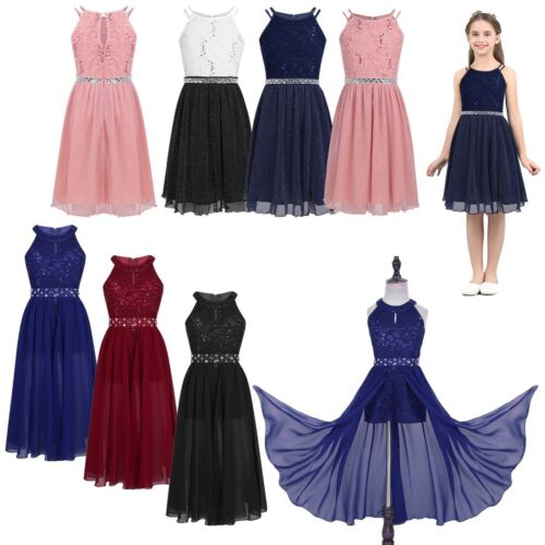 Kids Princess Lace Flower Girls Dress Birthday Party Bridesmaid Long Maxi Dress