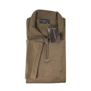 NWT-VITTORIO-ROCCHETTI-Teakwood-Brown-Cotton-1-4-Zip-S-s-Sweater-2XL