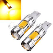 2X Amber T10 W5W 168 194 7.5W Car Signal Tail Turn COB LED Light Lamp Bulb 12V