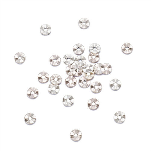 100 Pcs Lead Free Flat Round Antique Silver Tibetan Spacer Beads 7x1mm Hole 1mm