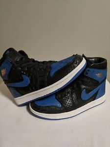 cdfbb713279389 Custom Jordan 1 Cracked Royal Jack The Ripper Sz 7 Black Python Blue ...