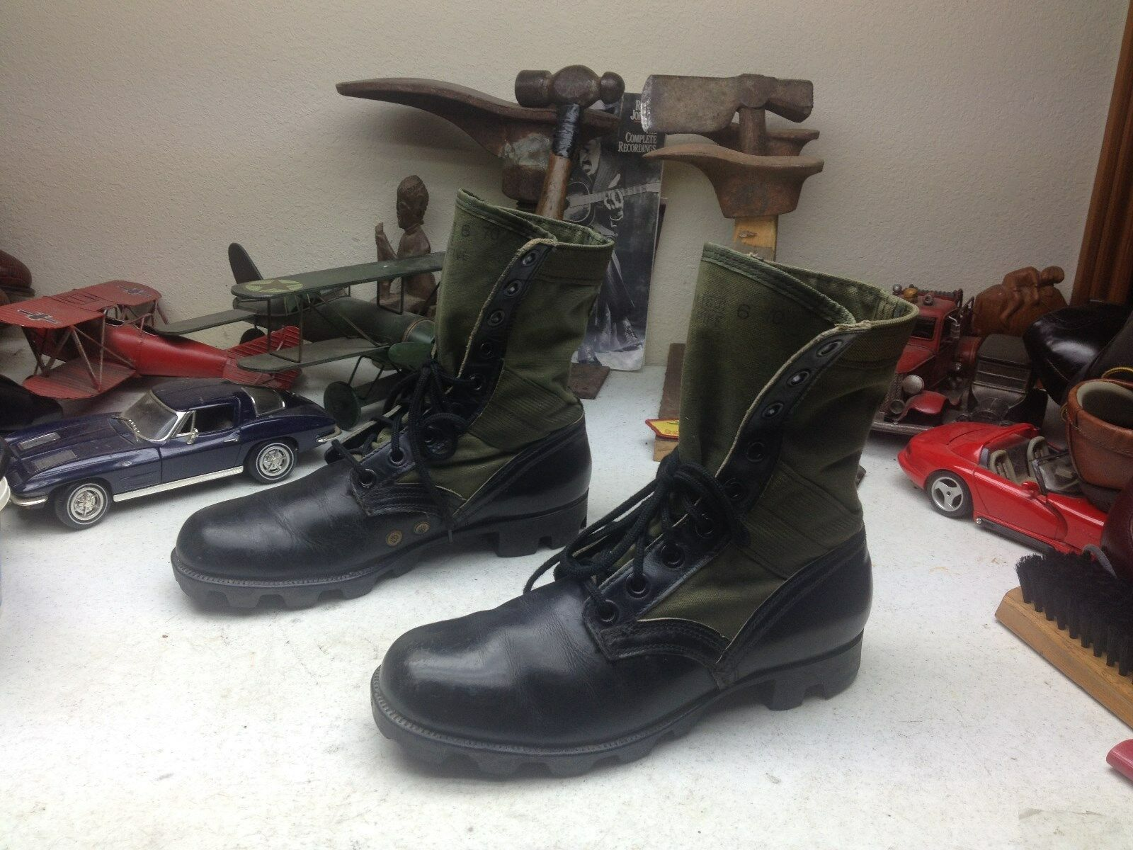 GENESCO VINTAGE 1970 negro LEATHER verde CANVAS MILITARY COMBAT WAR botas 7 N