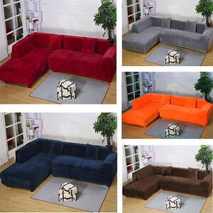 2seats 3seats Plush Stretch Sure Fit L Shaped Sectional Sofa Slip Covers Set Ebay