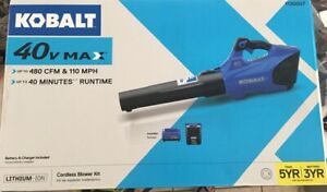 Kobalt Electric Leaf Blower 40 Volt Lithium Ion Brushless Cordless with Battery