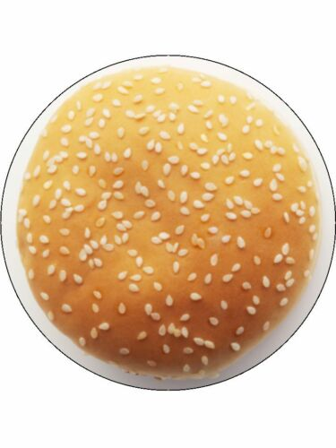 "Nouveauté burger bun top 7.5/"" comestible gaufre papier cake topper"