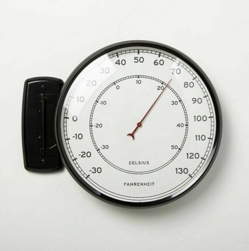 Hearth & Hand Magnolia Hinged Metal Outdoor Thermometer Round Black & Cream NWT