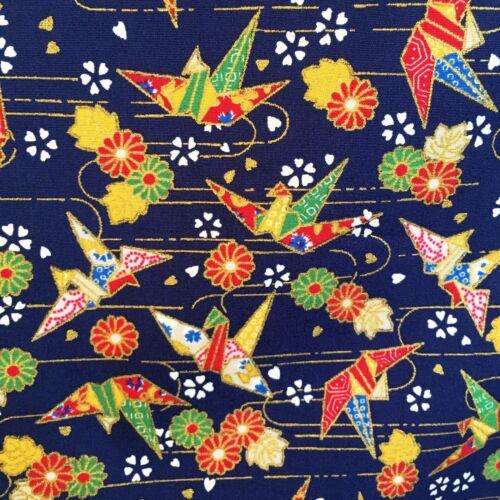 Azul Oro Navidad Orizuru Paper Crane Tela metálica orientales Oriental Pájaro