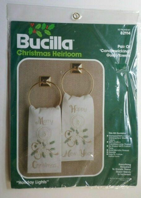 "Vintage Bucilla Pair of ""Holiday Lights"" Candlewicking  GUEST TOWELS KIT #82114"