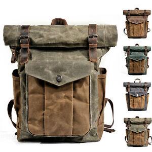 Water-Resisant-Vintage-Waxed-Canvas-Backpack-Fold-Over-Satchel-Laptop-Bag